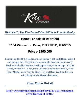 1104 Wincanton Drive, DEERFIELD, IL 60015 Deerfield Homes For Sale by The Kite Team-Keller Williams Premier Realty