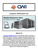 Computer Wholesalers Inc: IT Asset Disposition Services