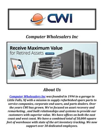 Computer Wholesalers Inc: IT Asset Disposition Services