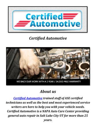 Certified Automotive: Automotive Repair Shops