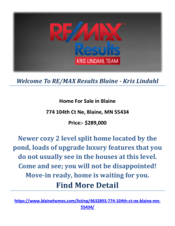Blaine Homes For Sale by RE/MAX Results Blaine - Kris Lindahl : 774 104th Ct Ne, Blaine, MN 55434