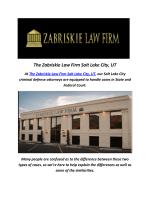 Criminal Defense By The Zabriskie Law Firm Salt Lake City, UT