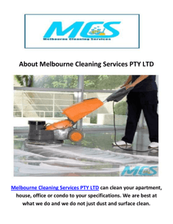 Melbourne Cleaning Services PTY LTD : Commercial Cleaning in Melbourne