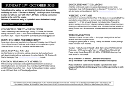 Newsletter 11th October - Chapel Allerton Baptist Church