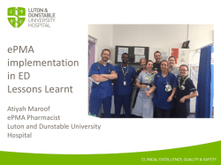 ED Implementation – Lessons Learnt