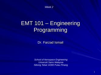 C++ Basics-Week-2 - School of Aerospace Engineering