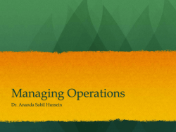 Managing Operations - Ananda Sabil Hussein,Ph.D