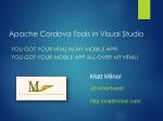 Apache Cordova Tools in Visual Studio