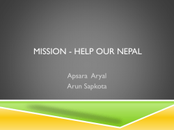 Nepal Earthquake Relief Report