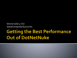 Getting the Best Performance Out of DotNetNuke