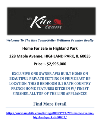 228 Maple Avenue, HIGHLAND PARK, IL 60035 : Highland Park Homes For Sale by The Kite Team-Keller Williams Premier Realty