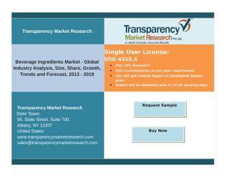 Beverage Ingredients Market - Global Industry Analysis,Forecast, 2013 – 2019.