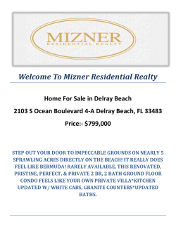 2103 S Ocean Boulevard 4-A Delray Beach, FL 33483 : Delray Beach Real Estate by Mizner Residential Realty