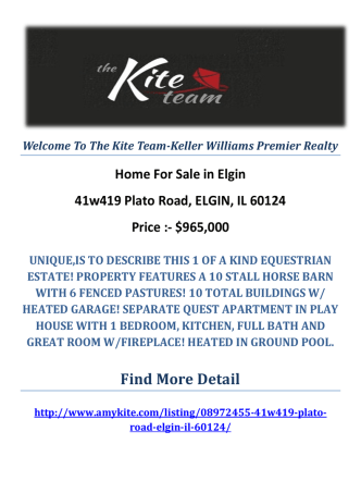 41w419 Plato Road, ELGIN, IL 60124 : Elgin Homes For Sale by The Kite Team-Keller Williams Premier Realty
