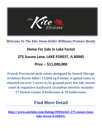 275 Sussex Lane, LAKE FOREST, IL 60045 : Lake Forest Homes For Sale by The Kite Team-Keller Williams Premier Realty