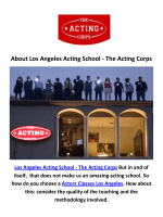 Los Angeles Acting School - The Acting Corps : Actors Classes in Los Angeles
