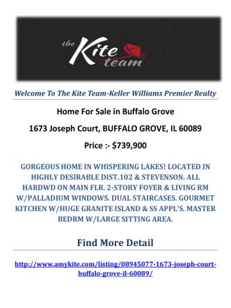1673 Joseph Court, BUFFALO GROVE, IL 60089 Buffalo Grove Homes For Sale by The Kite Team-Keller Williams Premier Realty
