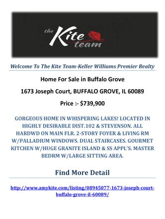 1673 Joseph Court, BUFFALO GROVE, IL 60089 : Buffalo Grove Homes For Sale by The Kite Team-Keller Williams Premier Realty
