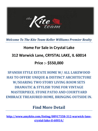 312 Warwick Lane, CRYSTAL LAKE, IL 60014 Crystal Lake Homes For Sale by The Kite Team-Keller Williams Premier Realty