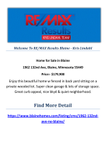 1962 132nd Ave, Blaine, Minnesota 55449 : Buy A Home In Blaine by RE/MAX Results Blaine - Kris Lindahl