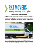 Gta & Movers R&K Transmove: RKT Movers Brompton