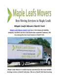 Maple Leafs Movers North York : Moving Company