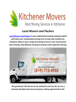 Kitchener Moving Companies : Local Movers and Packers