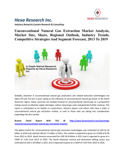 Unconventional Natural Gas Extraction Market Analysis, Market Size, Share, Regional Outlook, Industry Trends, Competitive Strategies And Segment Forecast, 2013 To 2019
