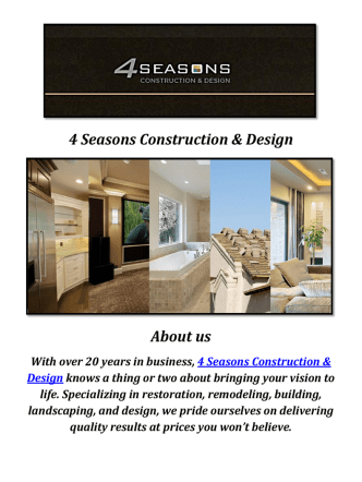 4 Seasons Construction & Design: Home Construction Services In Calabasas CA