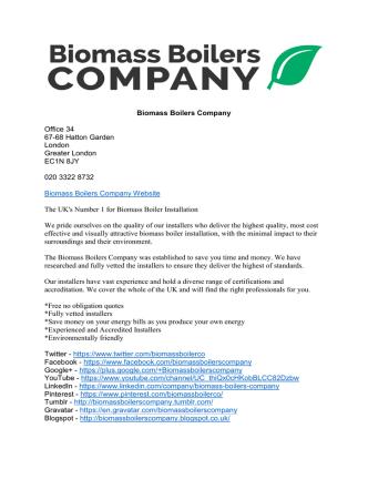 Biomass Boilers Company Information
