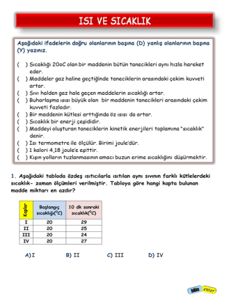 8. Sınıf TEOG Sınavı Isı ve Sıcaklık Konusu Hazırlık