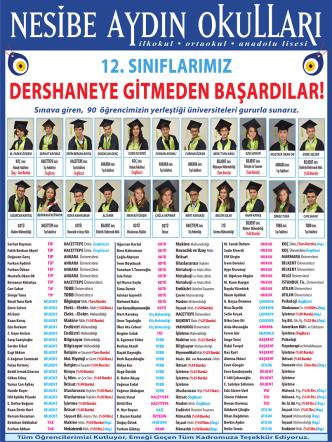 50 Burslu - nesibe aydın okulları