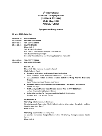 9 International Statistics Day Symposium