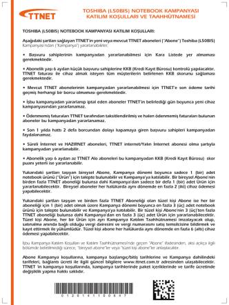 (l50bı5) notebook kampanyası katılım koşulları ve taahhütnamesi