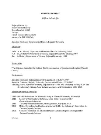 CURRICULUM VITAE - Department of History