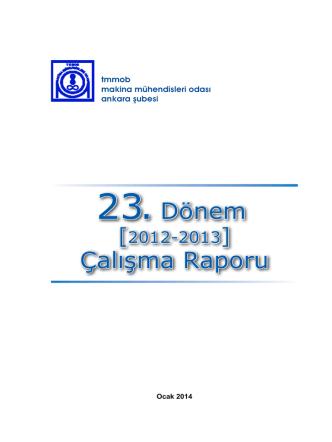 23 .Dönem Çalışma Raporu - Makina Mühendisleri Odası