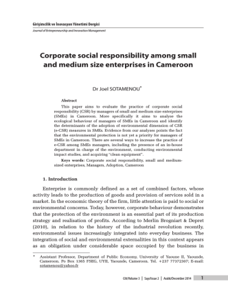 Corporate social responsibility among small and medium size