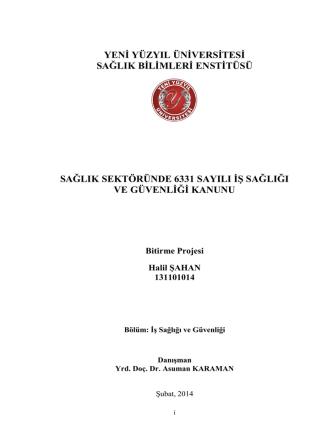 bölüm 1. iş sağlığı ve güvenliği - İstanbul Yeni Yüzyıl Üniversitesi