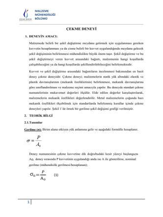 ÇEKME DENEYİ (1) - Celal Bayar Üniversitesi