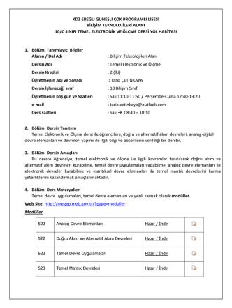 10. Sınıf Temel Elektronik ve Ölçme Dersi Yol Haritası
