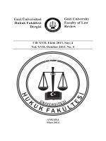 Gazi Üniversitesi Hukuk Fakültesi Dergisi