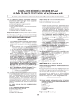 eylül 2014 dönemi 2. deneme sınavı klinik bilimler testi soru ve