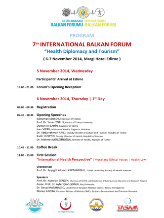 7TH INTERNATIONALBALKANFORUM