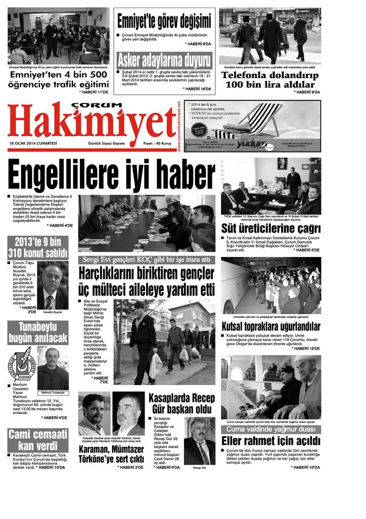 18 Ocak Qxd Corum Hakimiyet Gazetesi