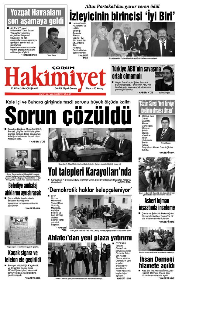 22 Ekim Qxd Corum Hakimiyet Gazetesi