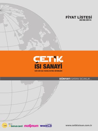 Çetik Kazan Genel Fiyat Listesi