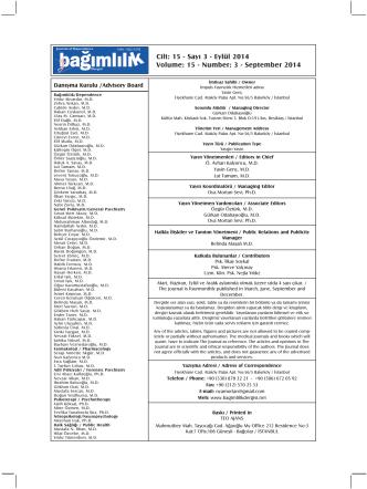 Cilt: 15 - Sayı 3 - Eylül 2014 Volume: 15