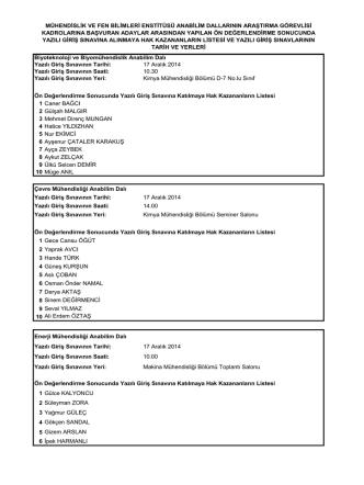 17 Aralık 2014 Yazılı Giriş Sınavın