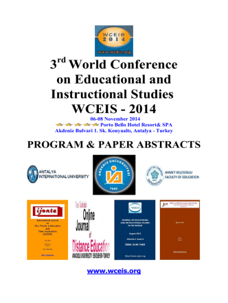 3 World Conference on Educational and Instructional Studies WCEIS