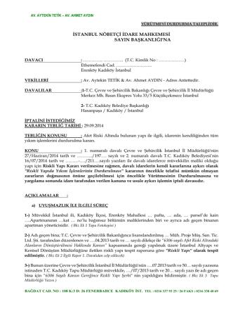 6306 Sayılı Yasa Gereği Yıkımın Durdurulması Kararının İptali